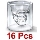 16 Pcs Crystal Skull Doomed Shot Glass For Tequila, Vodka. Bar Accessory & Home Decor