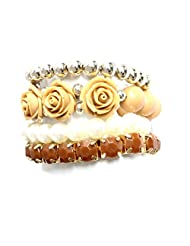 1.0 ? By Voaka Brown Daily Wear Set Of Stretchable Bracelets (Brown)