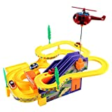 Track Racer Car & Helicopter Childrens Kids Battery Operated Toy Vehicle Playset