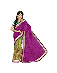 Firstloot Magenta And Green Satin And Net Embroidered Saree