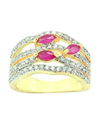 Supershine Red Look Stone & CZ Gold PLated Ring Fashion Jewelry 6.0 & 8.0 US NO. 10475RUG