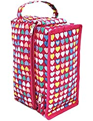 Stuf Jam Hearts Featured Shoe Travel Bag For Shoes & Socks Pair (Pink