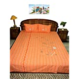 Amita's Home Furnishing Orange Color Hand Embroided BedSheet With 2 Pillow Cover
