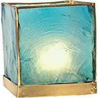 Luna Bazaar Capiz Cube Candle Holder (3 Inch, Turquoise Blue & Gold, Gold Edged) For Use With Tea Lights For Home...