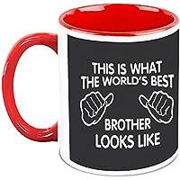 HomeSoGood World's Best Brother White Ceramic Coffee Mugs - 325 Ml