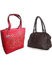Arc HnH Women HandBag Combo - Elegant Dark Brown + Blossom Red