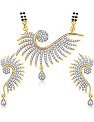 Amaal Mangalsutra Pendant Set With Earrings For Women Girls Jewellery Set Gold Plated In Cz American Diamond MSPT0136