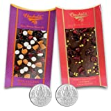 Chocholik Belgium Chocolate Gifts - Nutty And Fiery Combo Of Chocolate Bars With 5gm X 2 Pure Silver Coins - Diwali...