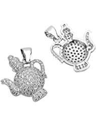 1pc Top Quality Silver Magic Teapot Charm/Pendant With Cubic Zirconia Pave # MCAC38