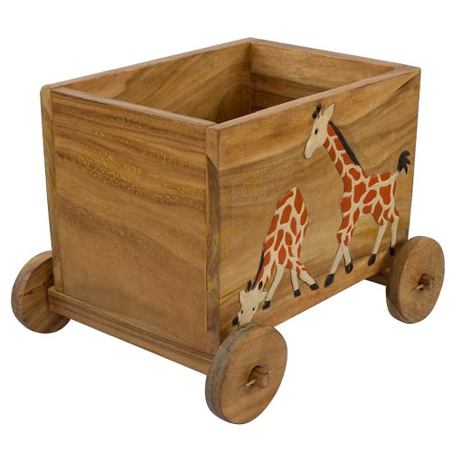 New Toy Chest With Shelves: Carved & Painted Giraffe Acacia Wood  VL96
