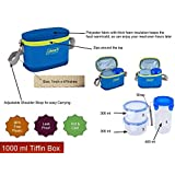 Coleman Tiffin 1000 Ml - 3 Containers + Insulated Bag (Best Lunch Box)