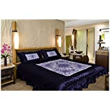 Home Shop Gift 100 TC Satin Double Bedsheet With 2 Pillow Covers - Abstract, King Size, Blue