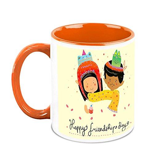 HomeSoGood Happy Friendship Day White Ceramic Coffee Mug - 325 Ml