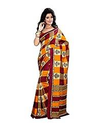 Anu Designer Self Print Saree (6401A_Multi-Coloured)
