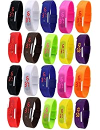 LEMONADE - Pack Of 20 - Multicolor Silicone Unisex Digital LED Band Wrist Watch For Boys, Girls, Men, Women