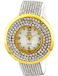 Pappi Boss Designer Full Diamond Studded White Analog Watch For Girls, Women