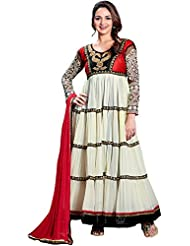 Exotic India Cloud Cream Anarkali Suit With Crewel Embroidery On Neck - White