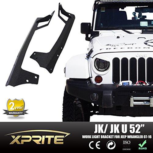 Xprite 52-inch LED Light Bar Upper Windshield Mounting Bracket 2007-2016 Jeep Wrangler JK 4WD, Wrangler Unlimited JK 4WD/2WD
