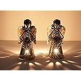 Home And Bazaar Traditional Metal Angel Tea Light Set Of 2 Size 4x4x7.5Inch / 10x10x18.75Cm