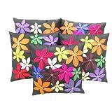 Zikrak Exim Felt Flower Patch Cushion Cover Black 5 Pc Set 40 X 40 Cm