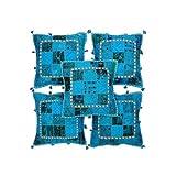Rajrang Sky Blue Cotton Patch Work Cushion Cover Set Of 5 Pcs #Ccs05694