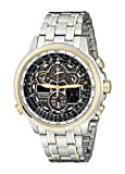 Citizen JY8034-58E Mens Navihawk Atomic Timekeeping Radio Controlled Chronograph Stainless Steel Case and Bracelet Black Tone Dial