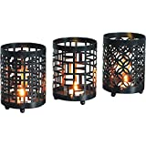 The Fragrance People Hurricane Metal Tea Light Candle Holder (9.65 Cm X 9.65 Cm X 13.46 Cm, Black, Pack Of 3)