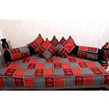 SNEHKRITI 100% Cotton Traditional Bagru Print Diwan Set With 5 Cushions Covers And 2 Boster Covers