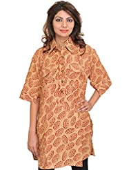 Exotic India Honey-Peach Block-Printed Kurti With Collar Neck And Front - Beige