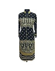 Navy Blue Georgette Fabric Party Wear Kurti