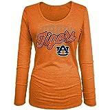 NCAA Auburn Tigers Women's Tri-Blend Long Sleeve U-Neck Shirt, Large, Orange