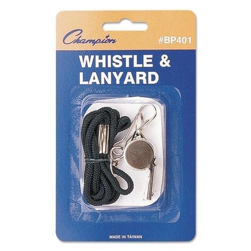 Champion BP401 Sports Whistle with Black Nylon Lanyard, Meta