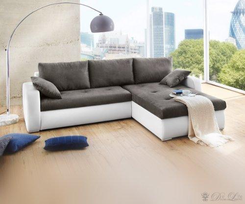 Sofa Lenka 260x200 Grau / Weiss Wohnlandschaft Ecksofa Couch