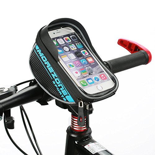 Bike Bag Bike Pouch, MOREZONE Cycling Bicycle Bike Frame Bags Double Pouch For Cellphone Below 5.5 inch Top Tube Handlebars Bag(Blue)