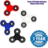 Apple IPad Compatible Certified Fidget Spinner (Pack Of 50) High Speed Stainless Steel Bearing ADHD Focus Anxiety Relief Toys(1 Year Warranty)