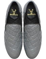 Bareskin Men's Grey Color Genuine Leather Diamond Stitched Loafers For Men/Designer Leather Loafers For Men/Branded...