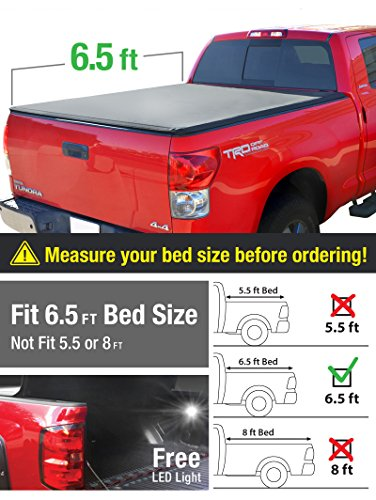 Premium TriFold Tonneau Truck Bed Cover For 07-13 Toyota Tundra (with/without utility track) 6.5 feet (78 inch) Trifold Truck Cargo Bed Tonno Cover (NOT For Stepside)