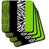 3dRose Cst_35440_2 Lime Green Black And White Animal Print Leopard And Zebra Soft Coasters, Set Of 8