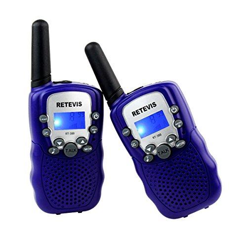 Retevis RT-388 Talkie-walkie pour enfants avec écran LCD et lampe de poche intégrée, radio jouet portable et amateur - violet