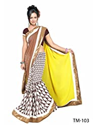 Brown & Yellow Printed Saree With Matching Blouse
