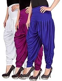 Navyataa Women's Lycra Dhoti Pants For Women Patiyala Dhoti Lycra Salwar Pant Free Size (Pack Of 3) White , Purple...