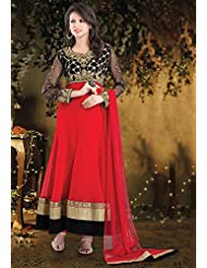 Utsav Fashion Women's Red And Black Net Readymade Anarkali Churidar Kameez-X-Small