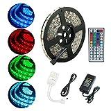ALED LIGHT® Tira de Luz Impermeable IP65 LED Strip RGB 5M 5050 SMD Cinta LED 300 (60 LED/Metro) + 44 Mando a Distancia Clave + Adaptador de Corriente 12V 5A + Receptor + Descripción del Producto