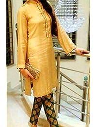 1 Stop Fashion Cream Semi Stitched Cotton Jacquard Straight Cut Salwar Suit