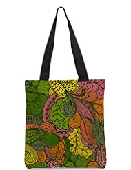 Snoogg Vector Abstract Texture With Abstract Flowers Endless Background Ethnic Designer Poly Canvas Tote Bag