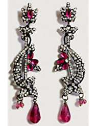 DollsofIndia White And Magenta Stone Studded Party Earrings - Stone, Bead And Metal - White