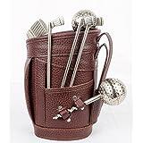 Wine Set In Style Of Golf Kit | Set Of 10 Pcs Wine Bottle Gift Set Collar, Pourer, Stopper, Opener, Glass Thermometer...