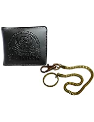 Apki Needs Trendy And Fashionable Mens Black Wallet And Golden Chain Keychain Combo