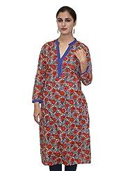 Blue And Red Printed Straight 3/4 Sleeves Kurta