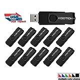 KOOTION 10 Pack 8GB USB Flash Drive 10pcs Thumb Drive-Bulk Pack- USB 2.0 Metal In Black
